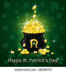 Card for St. Patrick's Day with text and pot with golden coins