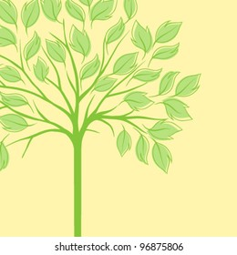 Card with stylized tree