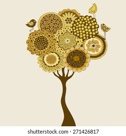 Card with stylized tree and birds on white background