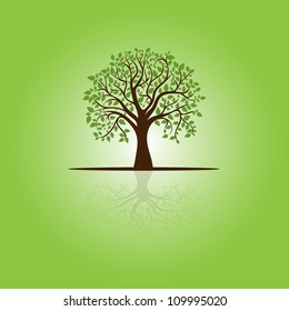 card with stylized tree and text, vector image for design