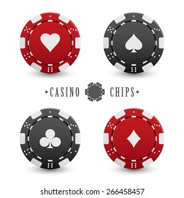 Card suit casino chips