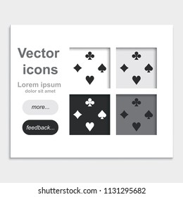 Card suit placed on web page template flat vector icon.