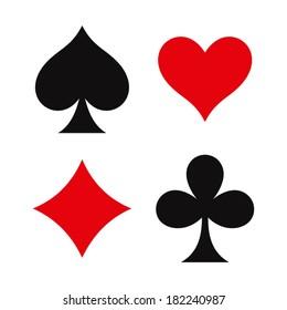 Card suit symbols Isolated on white background