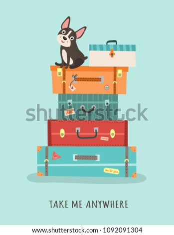 Card with suitcases and a dog. Journey