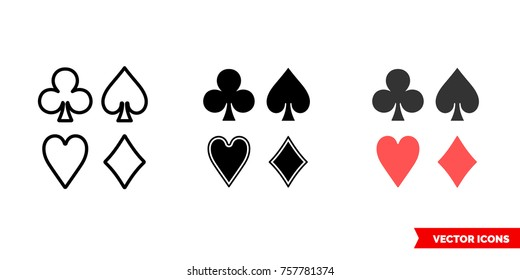 Card suits icon of 3 types: color, black and white, outline. Isolated vector sign symbol.