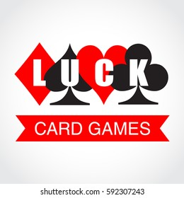 Card suits and inscription luck. Vector illustration.