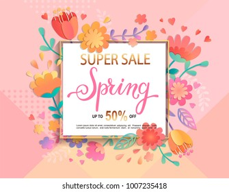 Card for super sale in spring with handdrawn lettering in square frame on geometric background pastel colors with  beautiful flowers. Vector illustration template, banner, flyer, invitation, poster.