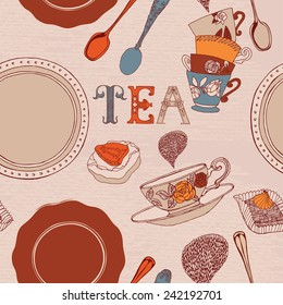 card with tea and cakes.
