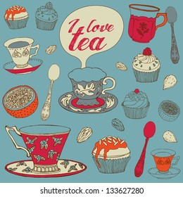 Card with tea and cupcakes. Vector illustration.