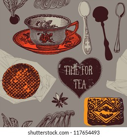 card with tea and sweets