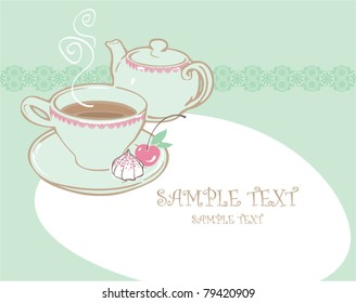 card with teapot, cup and place for text