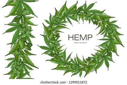 Card, template, banner hand drawing a wreath of leaves of hemp cannabis branches. Color green graphics, vector illustration. Seamless horizontal border.