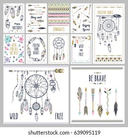 Card template collection for banners, flyers, posters with feathers, arrow and dream catchers in boho style