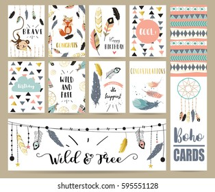 Card template collection for banners,Flyers,Placards with feather,fox,monkey and arrow in boho style