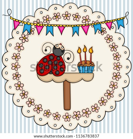 Card Template With A Cute Ladybug Birthday Cake Background