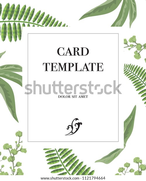 Card template design with frame and greenery pattern on white background. Party, event, celebration. Greeting card concept. Can be used for invitation, flyer, postcard