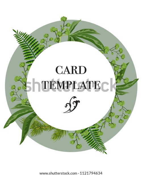 Card template design with greenery wreath on white background. Party, event, celebration. Greeting card concept. Can be used for invitation, flyer, postcard