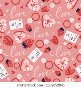 Card Template design for Valentine's day : Seamless Pattern :  Vector Illustration