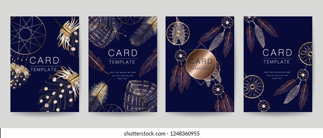 Card Template design for Wedding invitation, Thank you Card, RSVP, Greeting, Poster, Luxury design style with Golden feathers and geometric texture vector illustration.