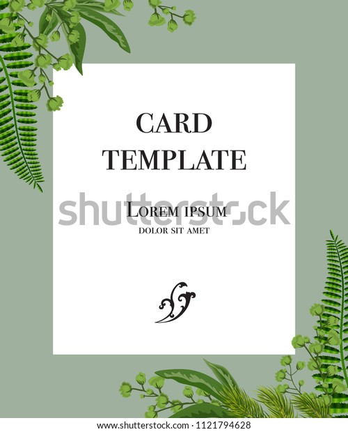 Card template design with white frame and greenery on gray background. Party, event, celebration. Greeting card concept. Can be used for invitation, flyer, postcard