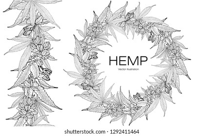 Card, template hand drawing a wreath of hemp cannabis  leaves. Black and white graphics, vector illustration. Seamless horizontal border