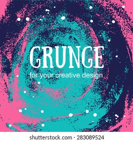 Card template with hand painted grunge background. Stylish simple design and trendy colors. Space and stars