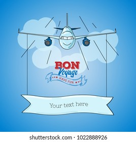 Card template with plane graphic illustration on blue sky background with banner for text and logo bon voyage