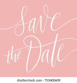 Card template with Save The Date calligraphy on elegance dark-pink background. Simple wedding invitation. Modern festive design.