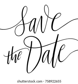Card template with Save The Date calligraphy on white background. Simple wedding invitation. Modern festive design.