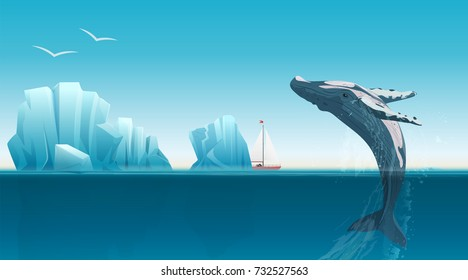 Card template with whale jumping under the blue ocean surface near icebergs. Winter arctic vector illustration. Iceland.