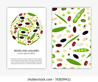 Card templates with cartoon colorful beans and legumes. Used clipping mask.