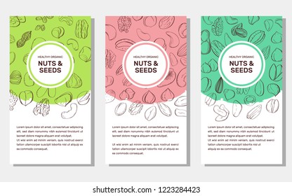 Card templates with cartoon colorful nuts and seeds. Set of AD-cards (banners, tags, package) with cartoon nuts - hazelnut, almond, pistachio, pecan, cashew, brazil nut, walnut. Vector illustration.
