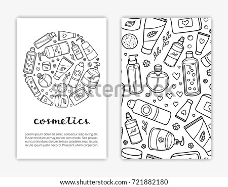 Card Templates Doodle Outline Beauty Products Stock Vector Royalty