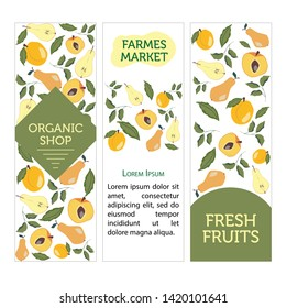 Card templates with fruits, leaves and flowers. Pears, peach and apricot. Cartoon vector illustration in flat style. farm market invitation, greeting card, articles backgrounds.
