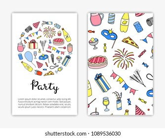 Card templates with hand drawn colored party items. Used clipping mask.