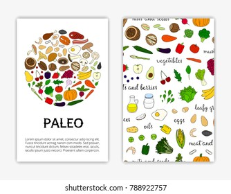 Card templates with hand drawn colored paleo diet foods. Used clipping mask.