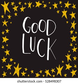 Card with text Good luck. Vector illustration
