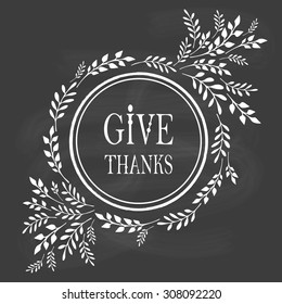 Card for Thanksgiving Day on the blackboard