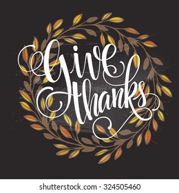 Card for Thanksgiving Day on the blackboard with floral design. Vector illustration EPS 10