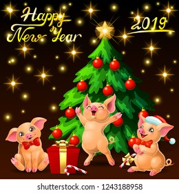 Card three joyful cute yellow pigs and a fir-tree with spheres and star and letters Happy New Year 2019 on black with gold star. A vector illustration in cartoon style, vertical
