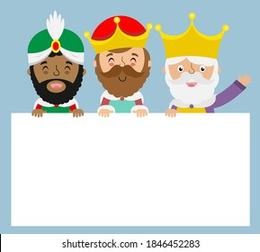 Card of the three wise men. Blank space for text