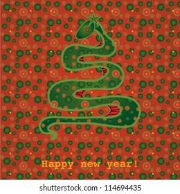 Card with tree, snake,