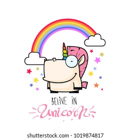 Card with unicorn character. Vector illustration.