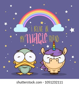 Card with unicorn and duck characters. Vector illustration.