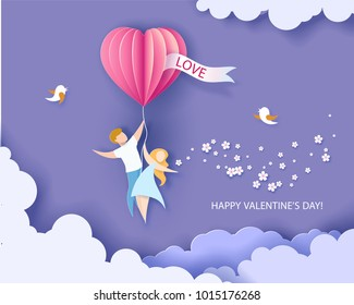 Card for Valentines day. Abstract background with couple flying with heart shaped airballoon. Vector illustration. Paper cut and craft style.