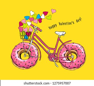 Card of a Valentine's Day. Bike with a pink doughnut wheels and with a bright hearts on a yellow background. Humor t-shirt composition, hand drawn style print. Vector illustration.