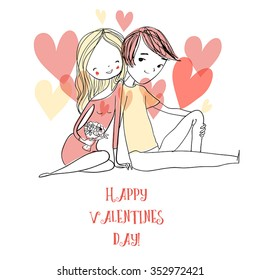 card for Valentine's Day with boy and girl.