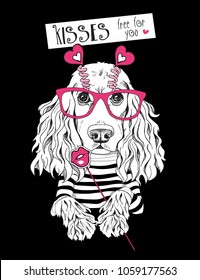 Card of a Valentine's Day. Cocker Spaniel Dog in a striped cardigan, in a fun pink heart glasses and with a lips Photo Booth. Vector illustration.