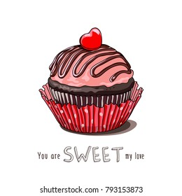 Card of a Valentine's Day. Cupcake with a sweet heart. Vector illustration.