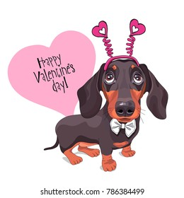 Card of a Valentine's Day. Dachshund Dog in a fun heart headband and in a bow tie. Vector illustration.
